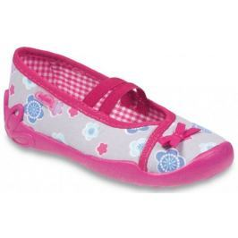 Befado Dievčenské kvetované papučky Blanca - ružovo-šedé