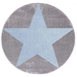 Happy Rugs Detský kruhový koberec s modrou hviezdou - šedý, priemer 133 cm