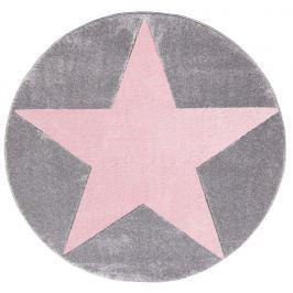 Happy Rugs Detský kruhový koberec s ružovou hviezdou - šedý, priemer 160 cm