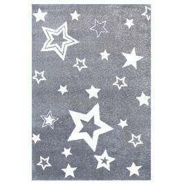 Happy Rugs Detský koberec šedý s bielymi hviezdami, 100x160 cm