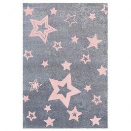 Happy Rugs Detský koberec šedý s ružovými hviezdami, 100x160 cm