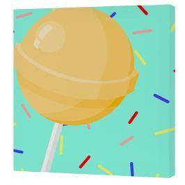 Mr. FOX Nástenný obraz Candy house - žlté lízatko, 27x27 cm