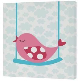Mr. FOX Nástenný obraz Little birds - ružový vtáčik, 27x27 cm