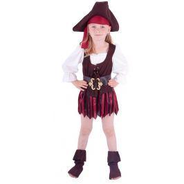 Rappa Karnevalový kostým pirátka, klobúk, topánky, veľ. XS (104-110)