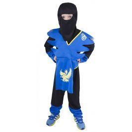 Rappa Karnevalový kostým NINJA modro-žltý, vel. S (110-116)