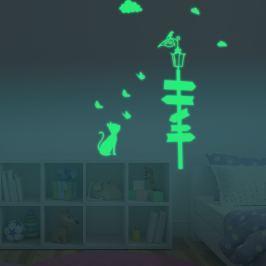 Walplus Svietiaca samolepka na stenu Mačka u lampy