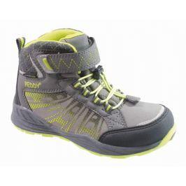 Peddy Chlapčenské členkové outdoorové topánky - zeleno-šedé
