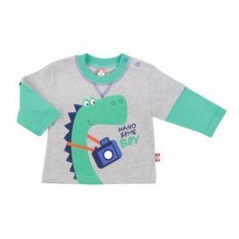2be3 Chlapčenské tričko s dinosaurom - šedo-zelené