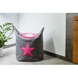 STORE !T Kôš na bielizeň s ružovou hviezdou - šedý, 60x55 cm