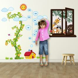 Walplus Samolepky na stenu Okno so zvieratkami a meter čarovná fazuľa, 210x160 cm
