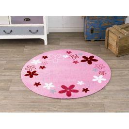 Hanse Home Detský guľatý koberec Kvetinky, 100 cm - ružový
