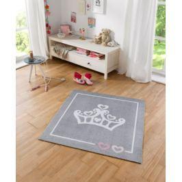 Hanse Home Detský koberec Korunka, 100x100 cm - sivý