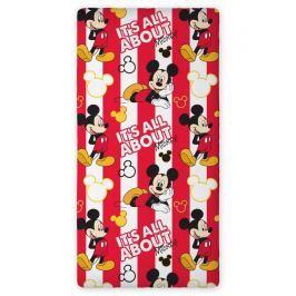 Faro Detské bavlnené prestieradlo Mickey Mouse, 90x200 cm - červeno-biele