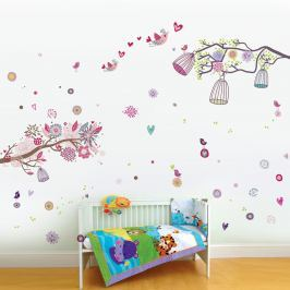 Walplus Samolepka na stenu Vtáčiky a klietky, 200x88 cm