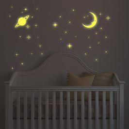 Walplus Svietiace samolepka na stenu Mesiac a hviezdy, 100x70 cm