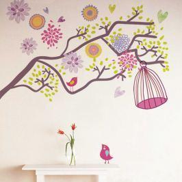 Walplus Samolepka na stenu Farebné kvety s vtáčou klietkou, 230x145 cm