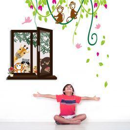 Walplus Samolepky na stenu Okno so zvieratkami / liana s opičkami, 150x135 cm