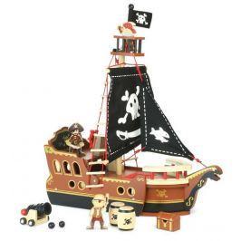 Vilac Drevená hracia súprava piráti - Pirátska loď