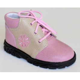 První krůčky Dievčenské kožené celoročné topánky Kytička - svetlo ružová / svetlo hnedá