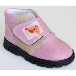 První krůčky Dievčenské kožené celoročné topánky Kos - svetlo ružová / svetlo hnedá