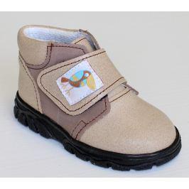 První krůčky Detské kožené celoročné topánky Kos - svetlo hnedá / tmavo hnedá