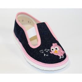 První krůčky Dievčenské papučky s vtáčikom - ružovo-modré