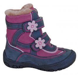 Protetika Dievčenské zimné topánky s kvietkami Diana - šedé