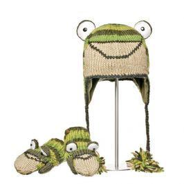 Knitwits Detský set čiapky a rukavíc Žaba - zeleno-béžový