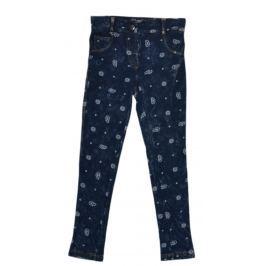 Topo Dievčenské džínsové nohavice s potlačou - modré