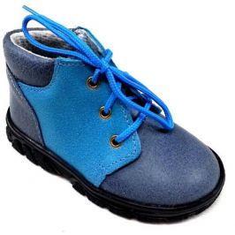 První krůčky Chlapčenské kožené celoročné topánky so šnúrkami - modré