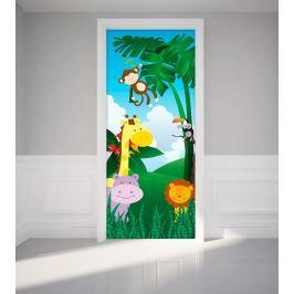 MaDéco Samolepka na dvere Zvieratká z džungle