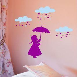 MaDéco Nástenná samolepka Dievčatko a srdiečkový dážď