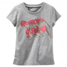 Oshkosh Dievčenské tričko s ružovým nápisom - šedé