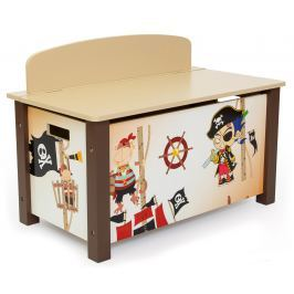 Homestyle4U Detská truhla na hračky Pirát