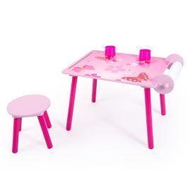 Homestyle4U Detský stolík so stoličkou Motýliky