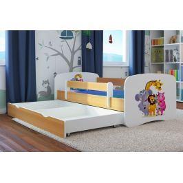 Ourbaby Detská posteľ so zábranou ZOO, 140x70 cm