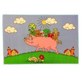 Vopi Detský koberec Prasiatko s kamarátmi, 100x150 cm - farebný