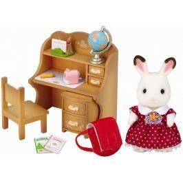 """Sylvanian Families Nábytok """"chocolate"""" králikov - sestra pri písacom stole so stoličkou"""