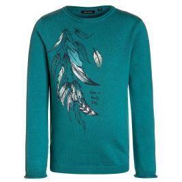 Blue Seven Dievčenský sveter s pierkami - zelený