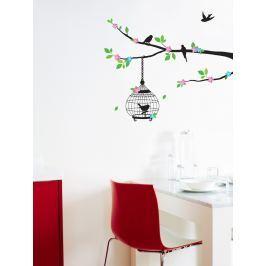 Ambiance Dekoračná samolepka Vtáčiky na rozkvitnutom strome