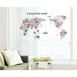 Ambiance Dekoračná samolepka Mapa sveta