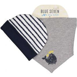 Blue Seven Chlapčenský komplet čiapky a šatky - šedo-biely