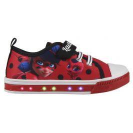 Disney Brand Dievčenské blikacie tenisky Ladybug - červené