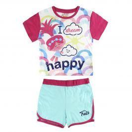 Disney Brand Dievčenská súprava kraťasov a trička Trollovia - farebný