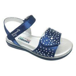 Canguro Dievčenské remienkové sandále s kamienkami - modré