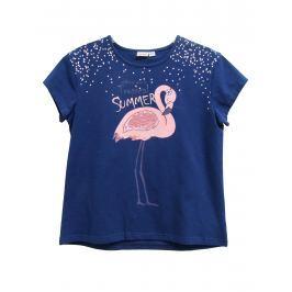 Topo Dievčenské tričko s plameniakmi - modré