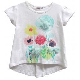 Topo Dievčenské tričko s kvetinami - biele