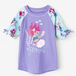 Hatley Dievčenské plavecké tričko s morskou pannou UV 50+ - fialové