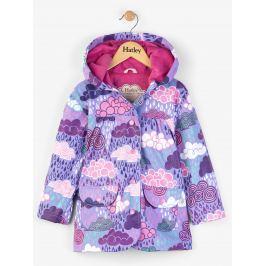 Hatley Dievčenský nepremokavý kabát s mráčikmi - fialový