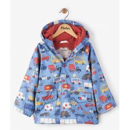Hatley Chlapčenský nepremokavý kabát s autami - modrý